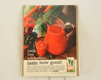 VINTAGE AD - Campbells V-8 Cocktail Vegetable Juice,  perfect to decorate your kitchen.