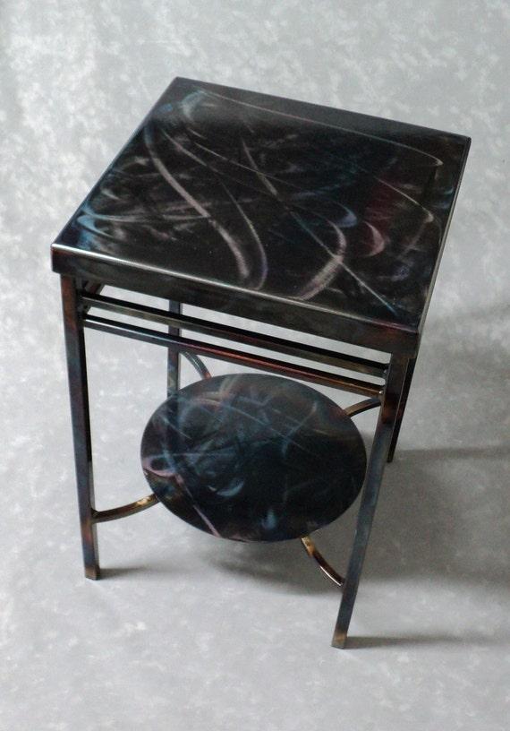 Lively Steel Side End Table Gunmetal Gray, Blues, Violet, Browns