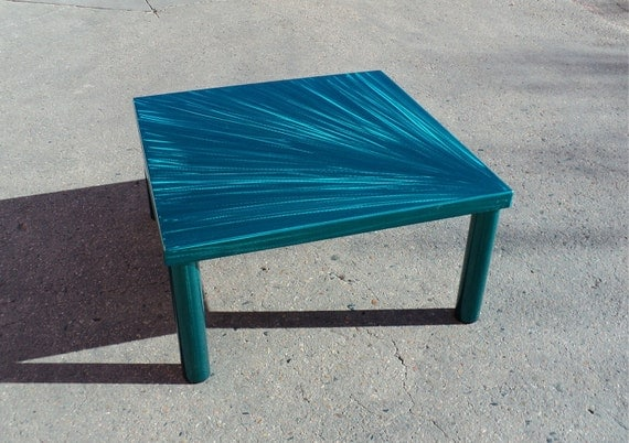Contemporary teal blue coffee table starburst by coresthetic for Teal coffee table