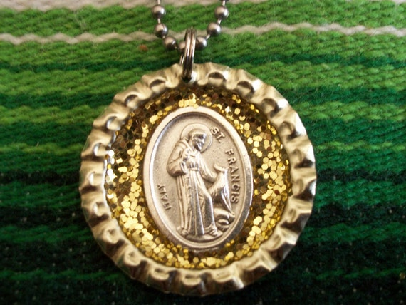 st. francis upcycled bottle cap necklace