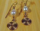 Gold-filled Freshwater Pearl Swirl Earrings