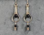 Gold-filled Black Onyx  Real Teardrop Earrings