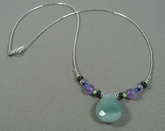 Sterling Silver Amazonite and Amethyst Choker Length Necklace
