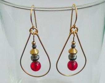 Red Glass Gold-Filled Teardrop Earrings