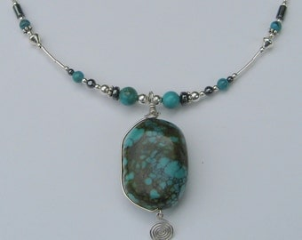 Sterling Silver Chinese Turquoise Pendant Necklace
