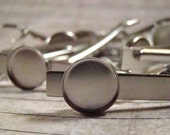 14mm Bezel Setting Tie Clips, Matte Silver Tie Clips, Tie Bars - Perfect for Cabochons, Resin, Buttons