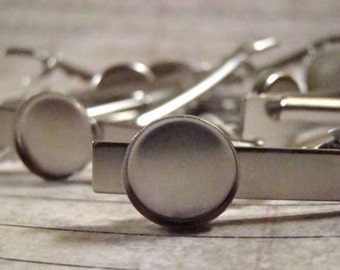 Six Tie Clips - Matte Silver w/15mm Bezel Setting - Perfect for Typewriter Keys, Resin