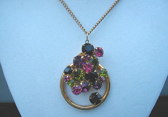 Vintage Multi Colored Rhinestone Cluster Pendant