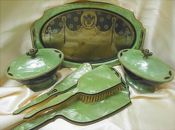 RESERVED for Michele Art Deco Grecian Design Jade Green Celluloid Dresser Set