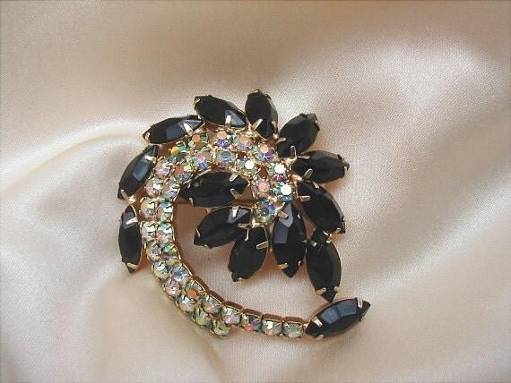 Vintage Black Glass and Aurora Rhinestone Swirl Brooch