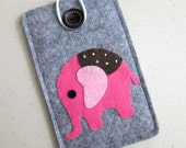 "iPhone sleeve, felt iPhone sleeve, iPhone case, felt iPhone case, iPhone bag, iPhone 5 sleeve, iPhone 5 case, ""Pink Elephant design"""