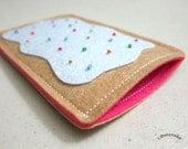 "iPhone Case - Cell Phone Case - iPhone 4 Case - iPod Case - iPod Touch Case - Handmade iPhone Felt Case - "" Strawberry Pop Tart "" Design"