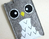 "iPhone sleeve, felt iPhone sleeve, iPhone case, felt iPhone case, iPhone bag, iPhone 5 sleeve, iPhone 5 case, ""grey owl design"""
