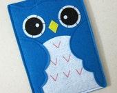 "Nook sleeve, Nook cover, Nook case, Nook Simple Touch case, Nook HD cover, Nook HD+ case, Nook color cover, Nook Glowlight cover, ""blue owl"""