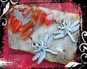 Carnelian Dragonfly Earrings Chakra Jewelry Chakra Stone Earrings Root Chakra Energy