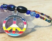Christmas in July Peace Charm Necklace Beaded Peace Sign  Hippie Necklace CIJ XMAS in July