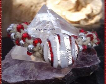 Macrame Murano Glass Beaded Bracelet, Bohemian Bracelet, Hippie Bracelet, Hemp Bracelet, Rocker Bracelet,Fun,Ready to Ship,Mothers Day Gift
