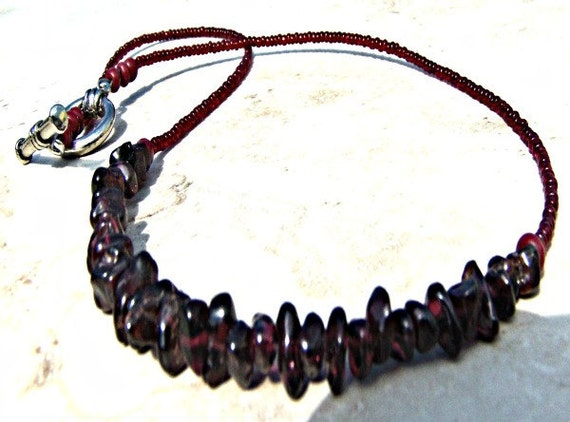"RED GARNET NECKLACE Size 17"" Inch Necklace Root Chakra Energy Beaded Necklace Chakra Jewelry"