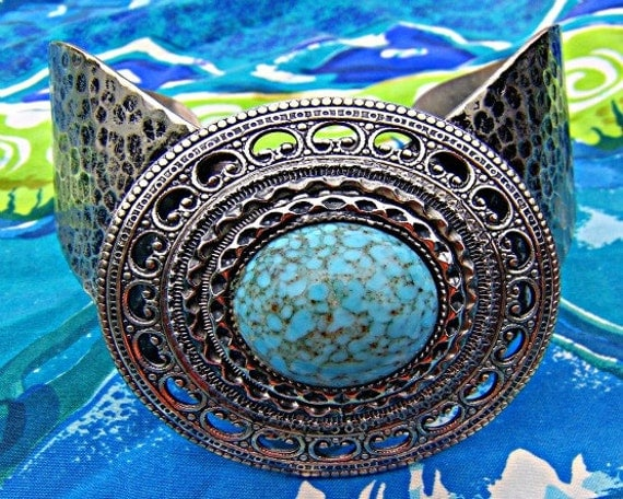 Reserved for Jennifer/Turquoise Cuff Antique Silver Vintage Turquoise Cuff Direct Checkout Woman Chakra Jewelry