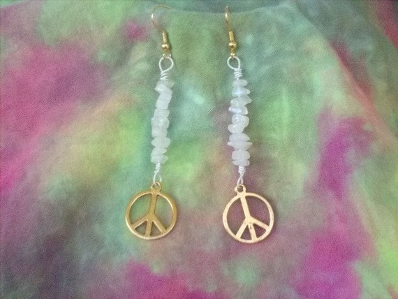 Moonstone Peace Earrings.....All but shipping costs are donated..FREE SHIPPING FOR ORDERS IN USA...Lusmysticjewels