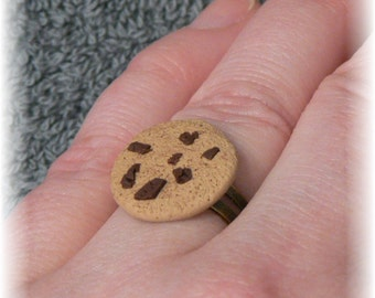 Chocolate Chip Cookie Ring...handmade Polymer Clay