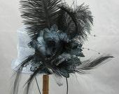Blue Gray Wild Flower Top Hat Fascinator Kentucky Derby Wedding Hat