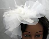 White Kentucky Derby or Wedding Fascinator Hat