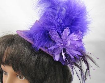 Purple Miniature Top Hat Fascinator Kentucky Derby Wedding Hat