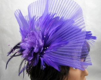 Purple Pleated Fantasy Fascinator Kentucky Derby Wedding Hat