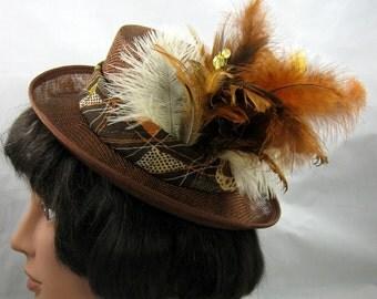 Brown Fascinator Kentucky Derby or Wedding Hat