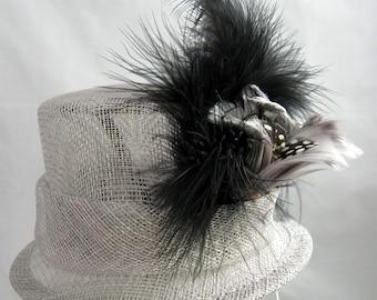 Gray Mini Top Hat Fascinator Kentucky Derby Wedding Hat