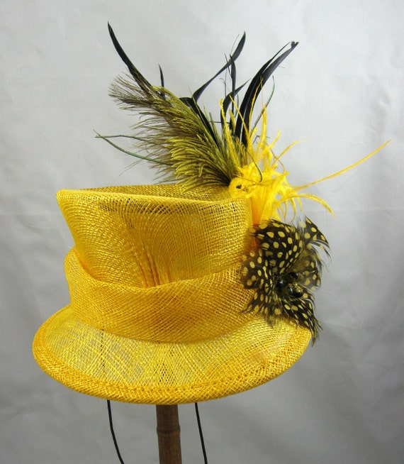 Yellow Top Hat Feather Fascinator