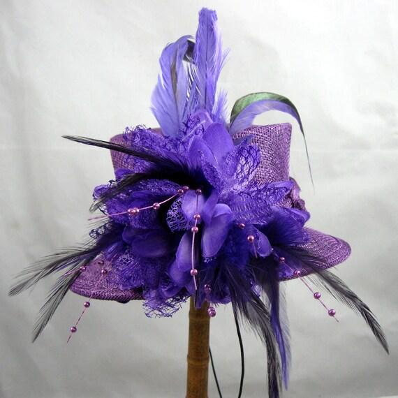 Purple Mini Top Hat Fascinator