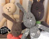 INSTANT DOWNLOAD - pdf Sewing Pattern - Upcycled Sweater PALS (Bunny and Bear)