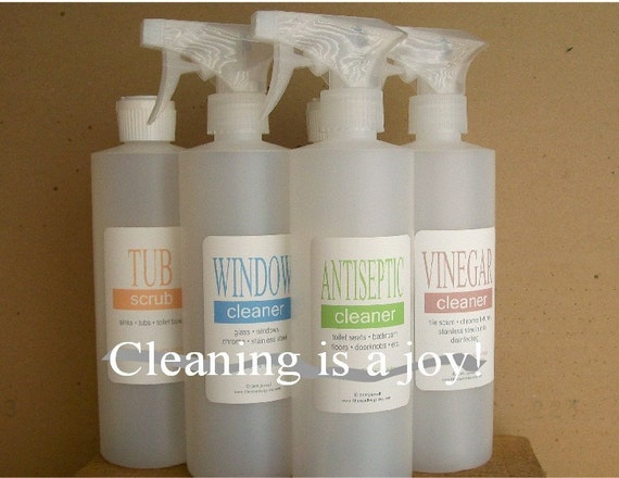 Non-Toxic Cleaner Labeled Bottles