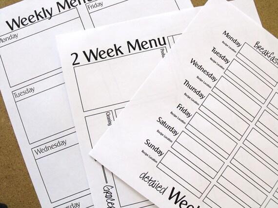 INSTANT DOWNLOAD - Printable Menu Planner Forms