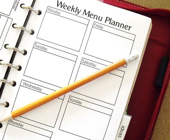 Printable Planner Size Menu Forms