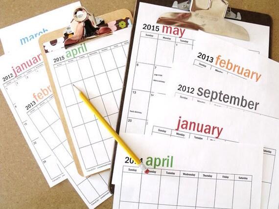INSTANT DOWNLOAD - editable FOREVER clipboard calendar set