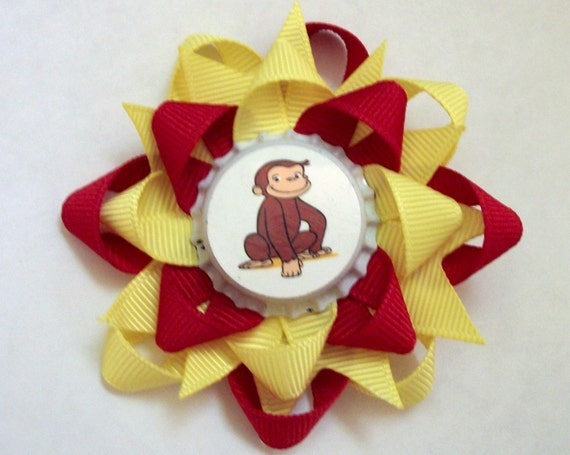 Cartoon Characters Yellow Hair : Curious george cute little monkey cartoon bottlecap hair bow