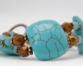 Turquoise Drizzled with Copper Double-Strand Bracelet