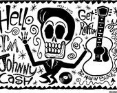 El Johnny Cash Print (Day of the Dead Rock Stars)