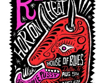 SALE Reverend Horton Heat with Nashville Pussy Screenprinted Poster - LAST FEW