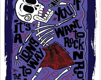 El Bon Scott Print (Day of the Dead Rock Stars)