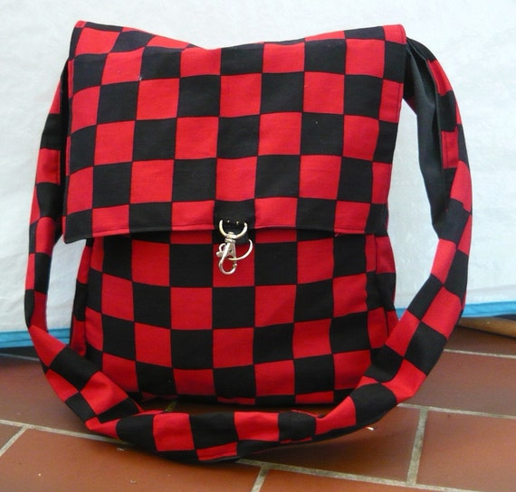 Black and red checker satchel bag