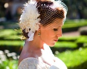 Custom headpiece, fascinator made of feathers, flowers...  Online Exclusive Offer