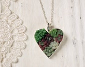 Succulent Garden Necklace - Heart Shaped Silver Pendant