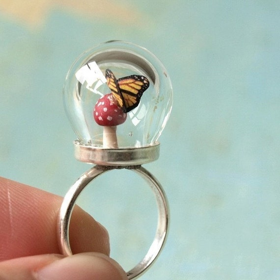 Tiny Woodland Terrarium Toadstool Mushroom and Butterfly Ring