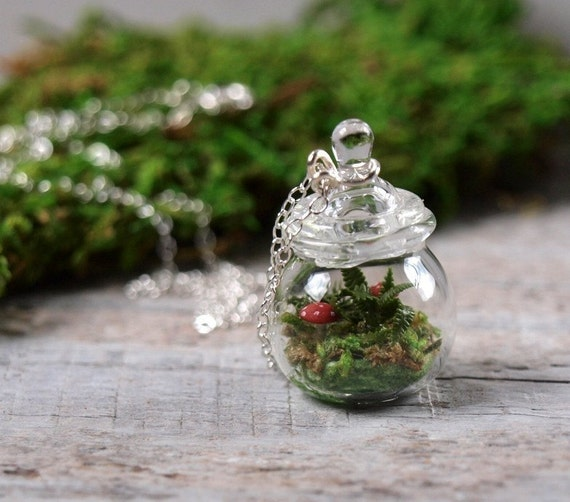 Tiny Moss, Mushroom and Fern Terrarium Necklace