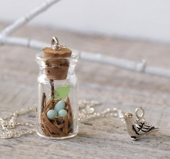 Tiny Woodland Terrarium Robin's Nest Necklace