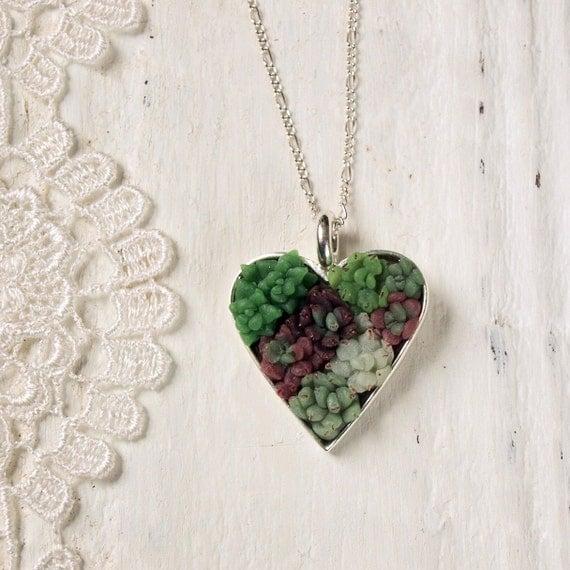Succulent Garden Necklace - Heart Shaped Silver Pendant
